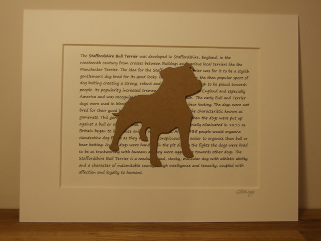 Mounted Staffordshire Bull Terrier Silhouette Dog Picture