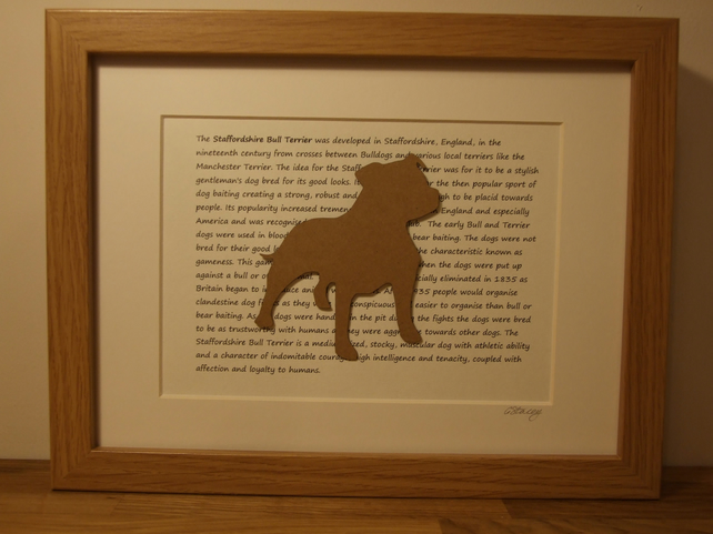 Framed Staffordshire Bull Terrier Silhouette Dog Picture