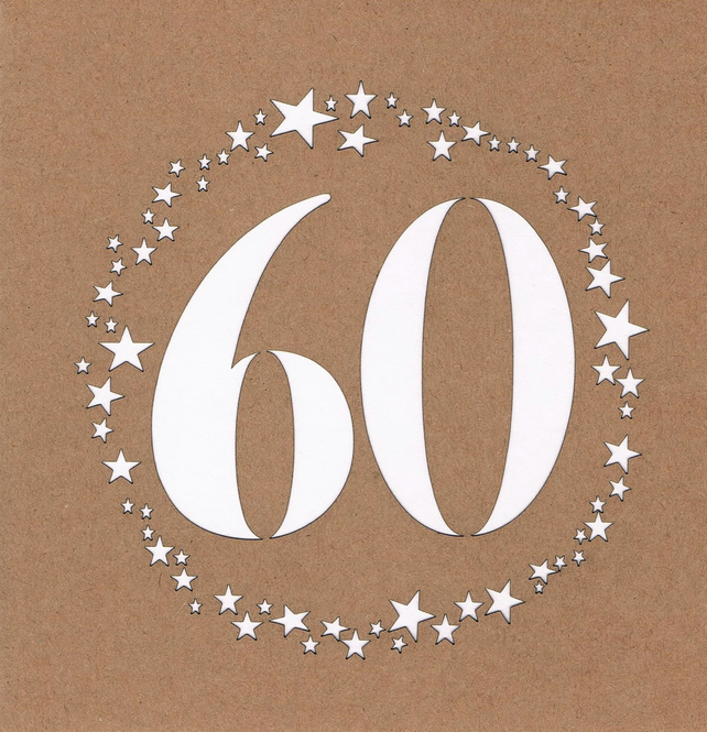 60 stars Birthday Card