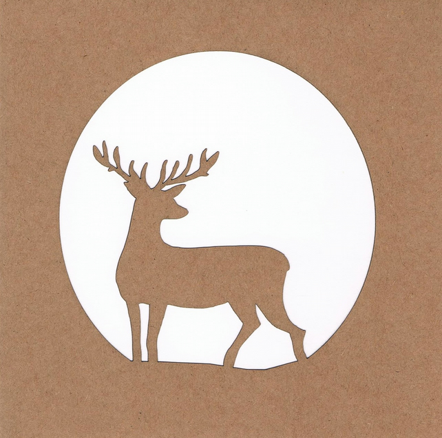 Stag in circle (moonlight) Card