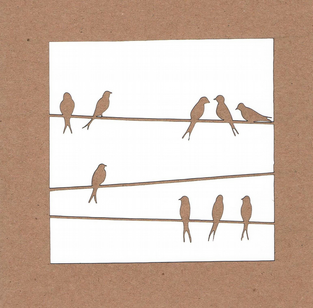 Birds on wire Card