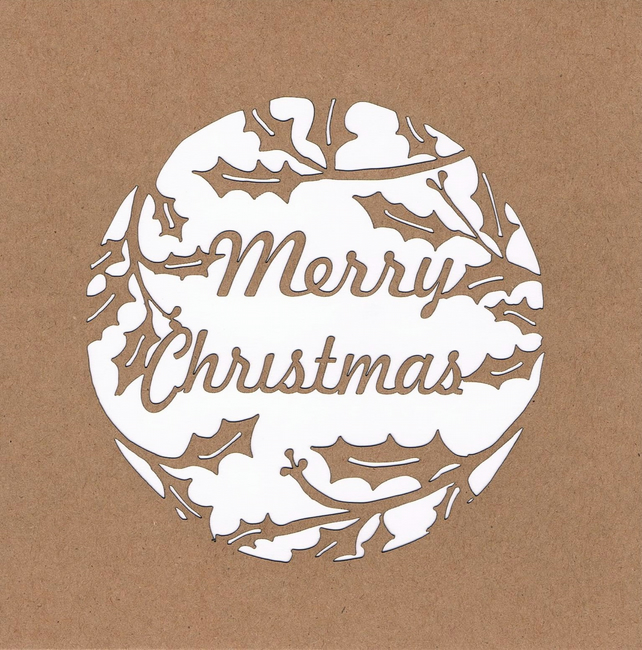 Merry Christmas Holly Wreath Card