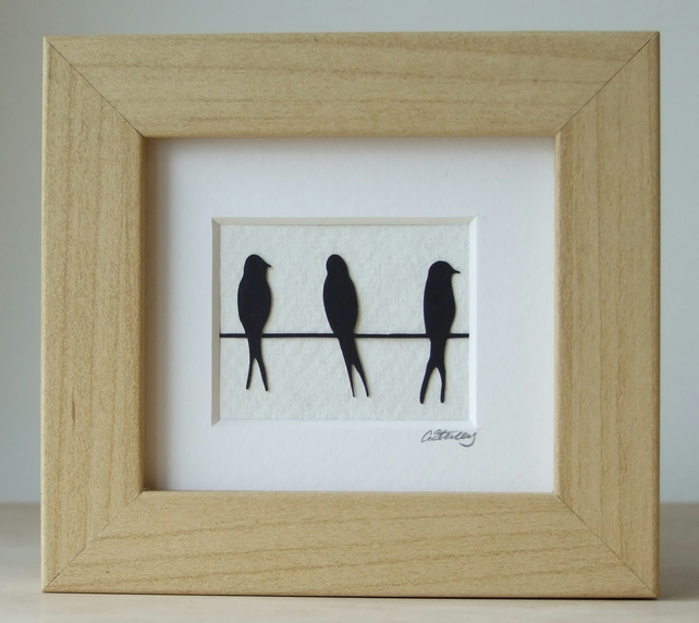 Mini birds on a wire (black)