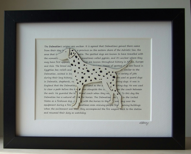 Framed Dalmation Silhouette Dog Picture