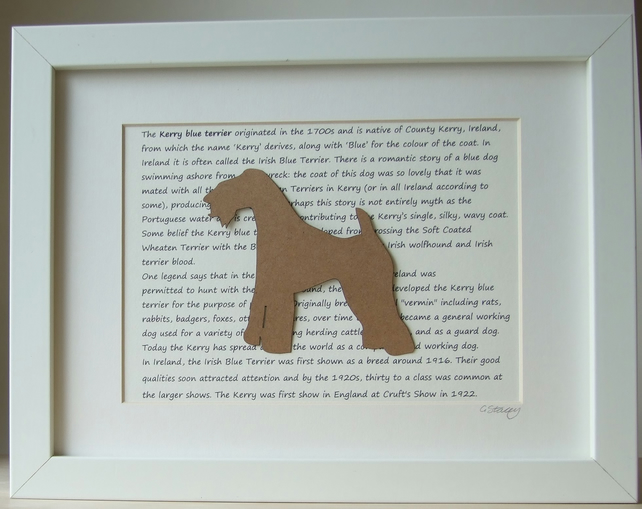 Framed Kerry Blue Terrier Silhouette Dog Picture