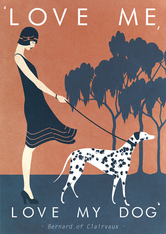 Art deco poster print a3 dog 1920 s 1930 s vintage vogue fashion