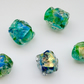 green dichroic glass nugget beads