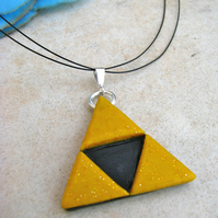 Polymer Clay And Sterling Silver Triforce Necklace - Legend of Zelda - Handmade