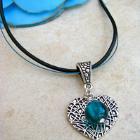 Silver  Heart Necklace With A Blue Dangle Bead - Handmade - SALE!