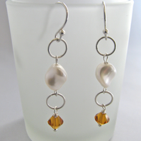 Swarovski Pearl And Crystal Birthstone Earrings - Handmade, Contemporary - SALE!