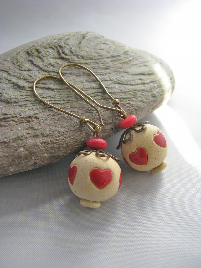 One Of A Kind Vintaj Brass And Hand Crafted Bead Earrings