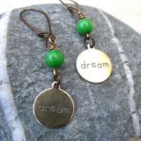 Handmade Vintage Brass And Jade Earrings - Contemporary Jewellery - SALE!