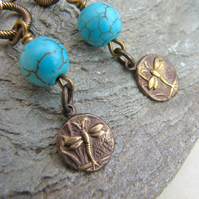 Turquoise And Vintaj Brass Dragonfly Earrings - Contemporary Jewellery - SALE!