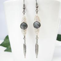 Handmade, Black Veined Jasper and Herringbone Wire Wrapped Earrings