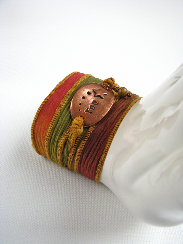 Copper and Picture Jasper Silk Wrap Bracelet - Handmade and Contemporary