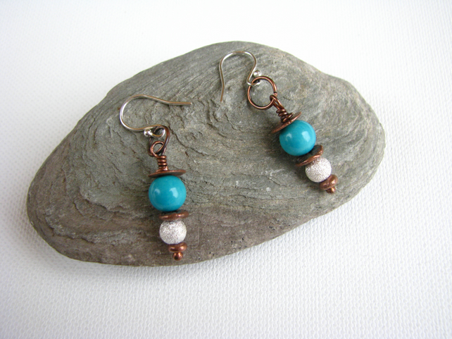 Fabulous Handmade Mixed Metal and Turquoise Dangle Earrings