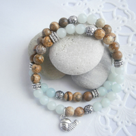 Amazonite and Picture Jasper Stacking Bracelets - Soothing, Harmonising
