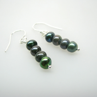 Freshwater Button Pearl Earrings - Peacock Green - Contemporary Jewellery