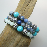 Ocean Shades - Handmade Turquoise, Amazonite and Sodalite Memory Wire Bracelet.