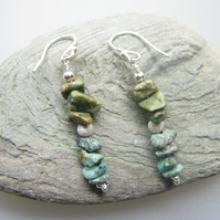 African Turquoise and Sterling Silver Earrings - Rustic with an elegant twist!
