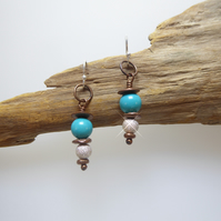 Handmade Mixed Metal and Turquoise Dangle Earrings - Contemporary Jewellery