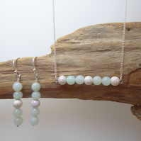 Amazonite and Sterling Silver Necklace and Earrings Set - Perfectly Elegant