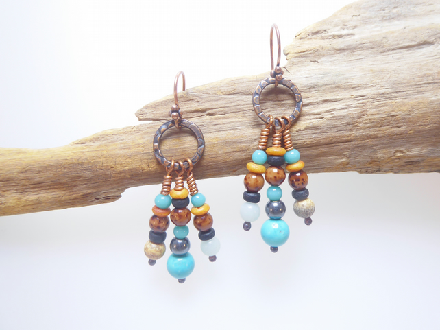 Handmade Copper, Turquoise, Amazonite and Picture Jasper - DISCOUNT!