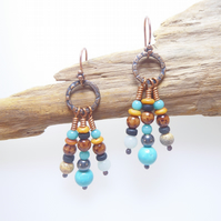 Handmade Copper Earrings With Turquoise, Amazonite and Picture Jasper - Boho
