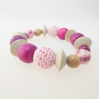 Textured Beaded Stretch Bracelet - Handmade, Contemporary, Statement Jewellery