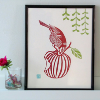 A little bird feeding Lino print