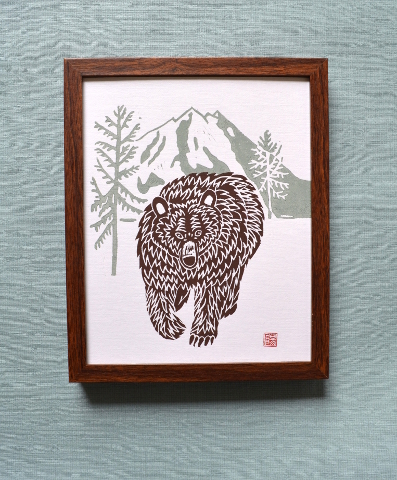 Great Grizzly Bear Lino print