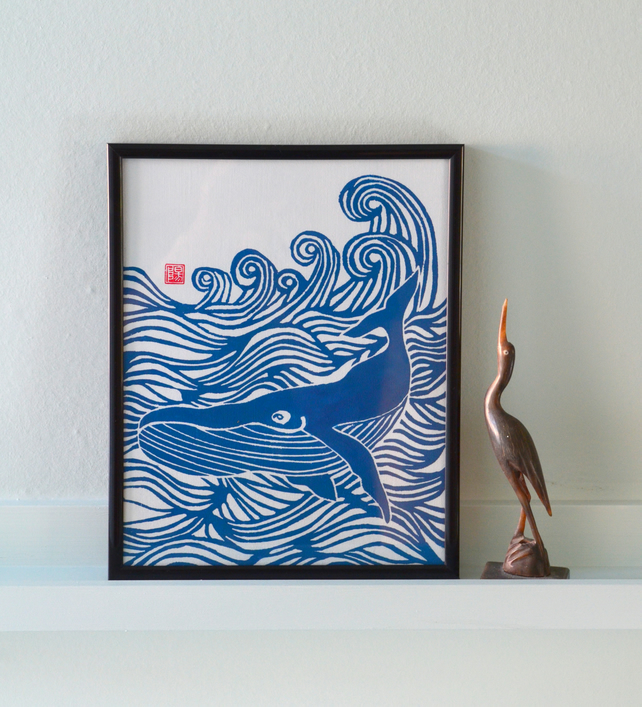 Makin Waves Whale Lino Print Folksy