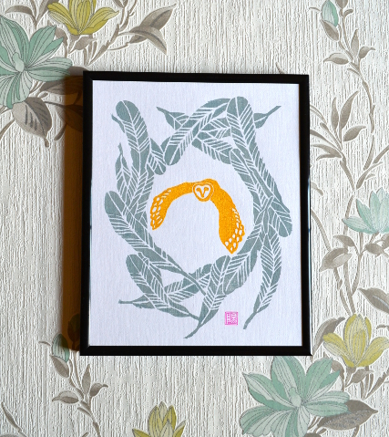 Barn Owl Lino Print- a rustle of feathers