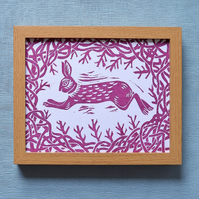 Hedgerow Hare Linoprint