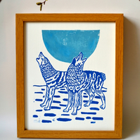 Howling Wolves linoprint
