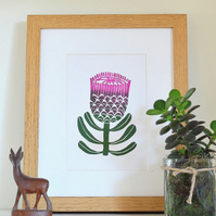Protea flower linoprint
