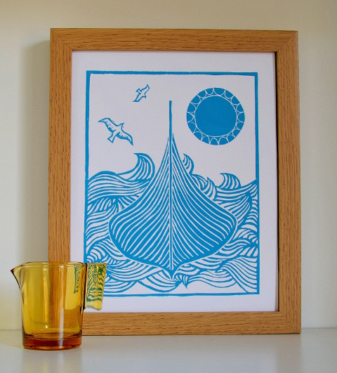 Gokstad Viking ship linoprint