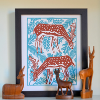 Deer Forest Linoprint