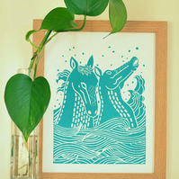 Kelpies (Water Horses) linoprint