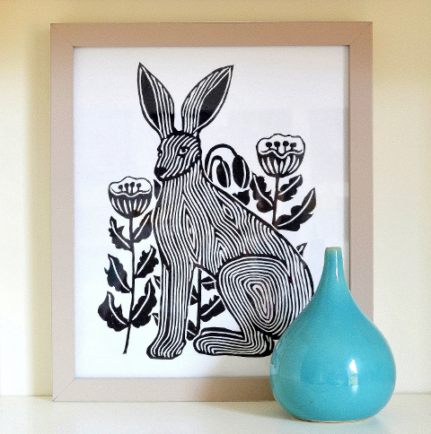 Jack Rabbit linoprint