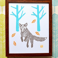 Jumping Fox Lino print