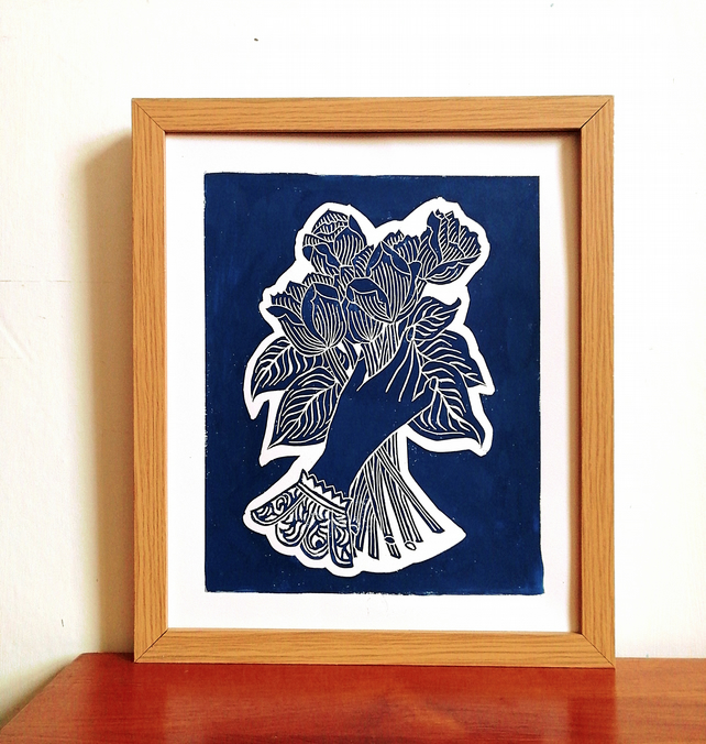 The hand that holds flowers Linoprint
