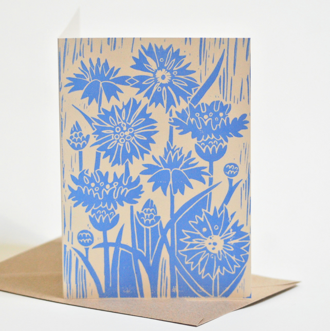 Cornflower Block-Printed Card