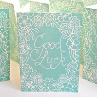 Good Luck Block Printed - Card