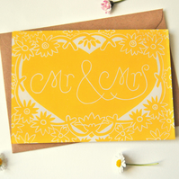 Mr & Mrs Block Printed - Card