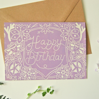Happy Birthday Block Printed - Card