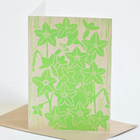 Nicotiana Block Printed - Card