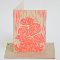 Ranunculus Block Printed - Card