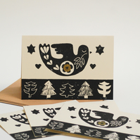 Christmas Dove Card Bundle Block Printed By Hand
