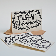 Merry Christmas Card Bundle Block Printed By Hand